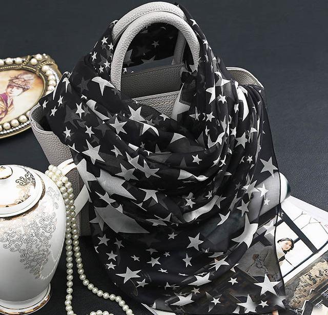 Estrella del mantón de la Bufanda de la vendimia de Impresión Negro para las mujeres 100% Puro de seda de Alto grado del Verano Vocación Playa Protector Solar pashmina pañuelos bufanda