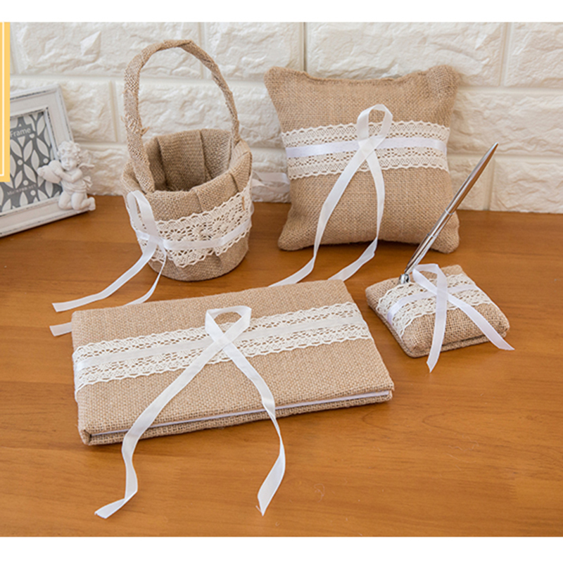 Dentelle toile de jute mariage livre d'or anneau oreiller fleur panier stylo ensemble pour romantique décorations de mariage mariée douche fête fournitures - 2