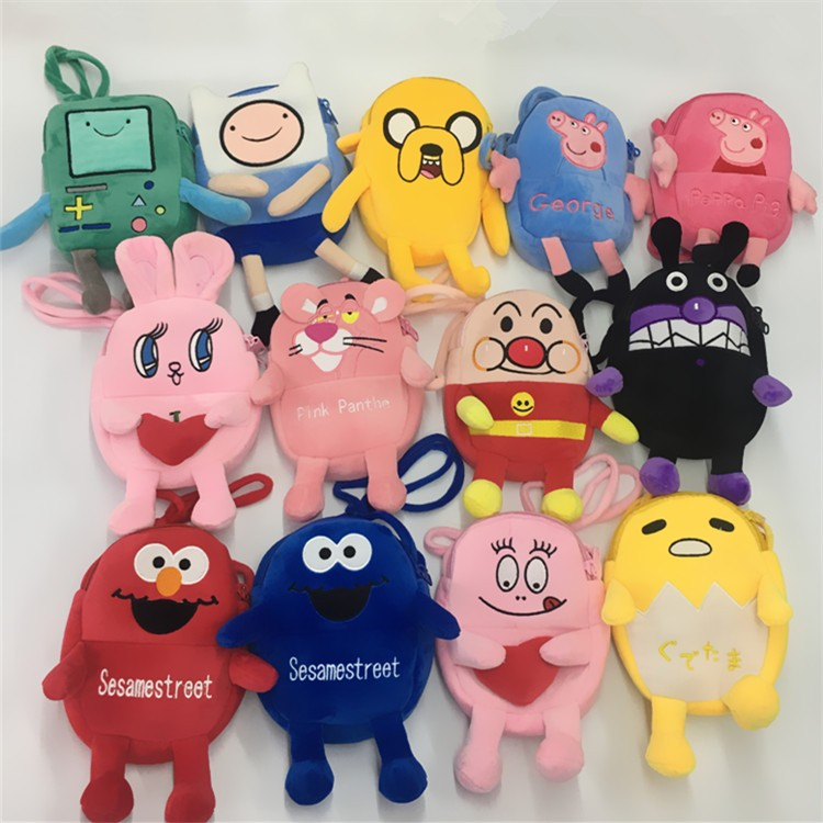 2018 Promotion Unisex Monedero Sesame Street Adventure Time Anime Money Bag Shoulder Phone Holder Bags Fit Adult Kids Gift New