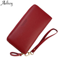 Aelicy Large Capacity Long Clutch Wallet Female Leather Card Holder Phone Pocket
