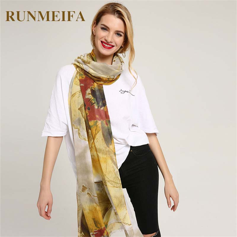 [RUNMEIFA] High Quality Women Long Neck Silk   Scarf   Large Shawl Flowers Pattern Cotton Printing   Scarves   Female Fashion   Scarf     Wrap