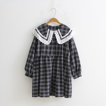 WYNNE GADIS Autumn Peter Pan Collar Plaid Dresses Long Sleeve Loose Dress Vestidos for Womens Clothing