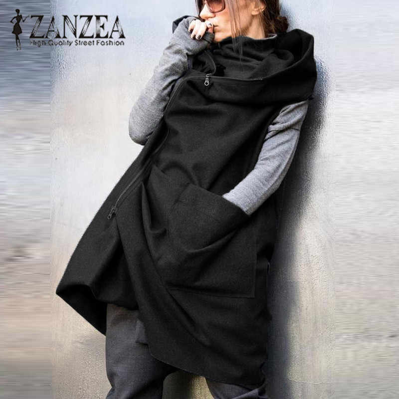 ZANZEA 2019 Fashion Vrouwen Rits Herfst Winter Hooded Vest Jas Casual Losse Mouwloze Jas Oversized Zwarte Jas Plus Size