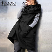 ZANZEA 2019 Fashion Vrouwen Rits Herfst Winter Hooded Vest Jas Casual Losse Mouwloze Jas Oversized Zwarte Jas Plus Size(China)