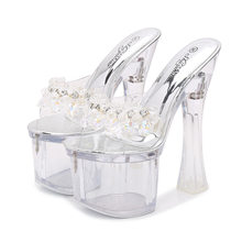 Rhinestone Sandals High Heels Peep Toe Summer Women Transparent Shoes Slip-On Chunky Clear Heels Sexy Lady Platform Sandals(China)