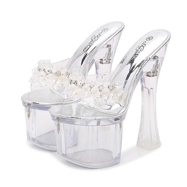 941c805c88 Rhinestone Sandals High Heels Peep Toe Summer Women Transparent Shoes  Slip-On Chunky Clear Heels Sexy Lady Platform Sandals
