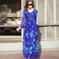 Винтажное Настоящее шелковое платье женская одежда 2019 весна лето Бохо вышивка длинное платье женские платья плюс размер 5xl Vestidos MY2456