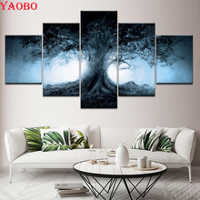 Tree of life 5 Pieces Wall Art diamond embroidery sale full square round diamond painting cross stitch kit mosaic Home Decor