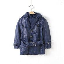 цены на Kids coat Baby boy clothes Autumn/Winter long Jacket PU Leather velvet thicken Jackets Faux fur coats Fashion washed Leather  в интернет-магазинах
