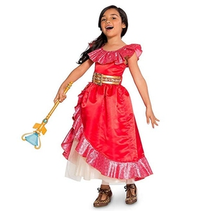Image 2 - Robe daventure Elena pour filles, Costume Cosplay, sans manches, robe de luxe rouge pour enfants, Halloween fantaisie