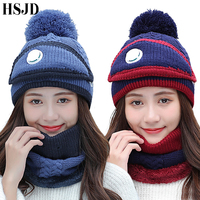 Balaclava Women's Knitted Hat Scarf Caps Mask 3 Pieces Set Neck Warmer Winter Hats For Women   Skullies     Beanies   Ski female cap