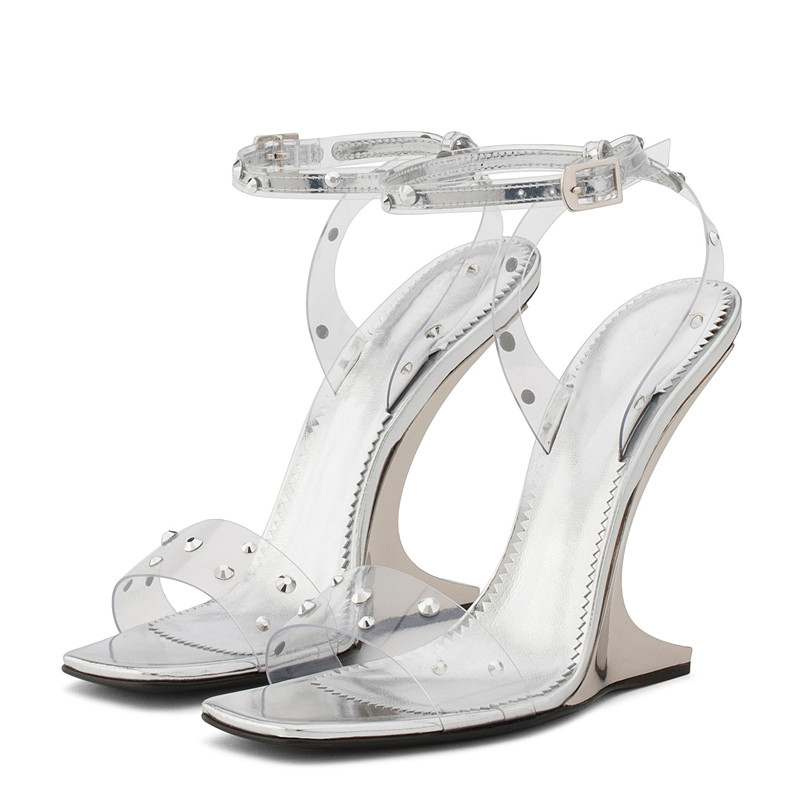 European style fashion word buckle rhinestones Roman 2019 shaped and high heels sexy transparent shoes women
