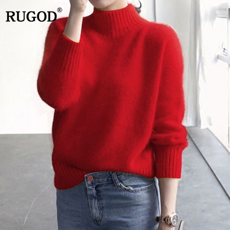 077695ad7f8 RUGOD Solid Turtleneck Cashmere Sweater Women Pullover Knitted Sweaters  2018 Autumn Winter Fashion Long Sleeve Casual