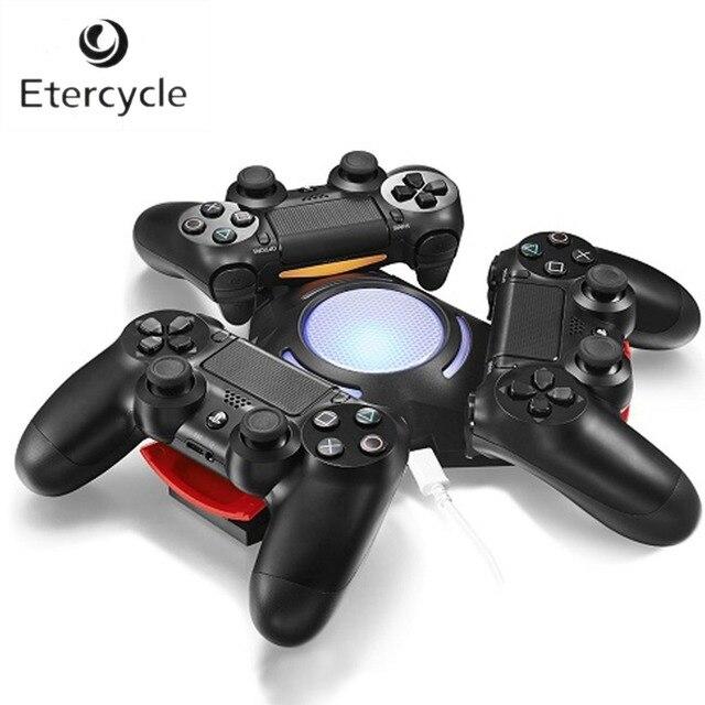 Estación de carga triangular Triple puerto con luz LED cargador USB base de carga para Sony Playstation 4 PS4 controlador Dualshock 4