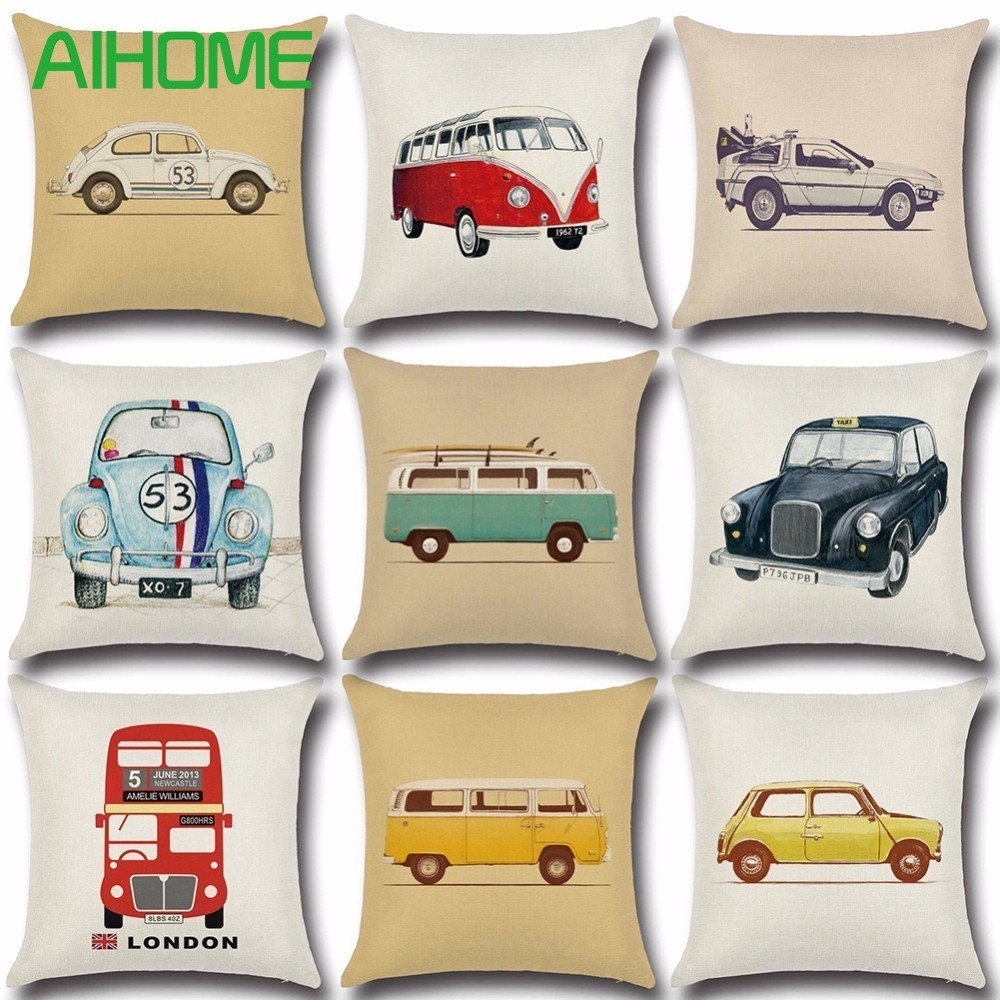 Cushion Cover Christmas Festival Dachshund 45X45cm Car Bus Pillow Cases New Year Gift Bedroom Sofa Decoration