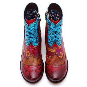 Image 4 - BuonoScarpe Retro Women Zipper Ankle Boots Winter Patchwork Flowers Printed Shoes Vintage Chunky Heel Casual Boots Ethnic Botas