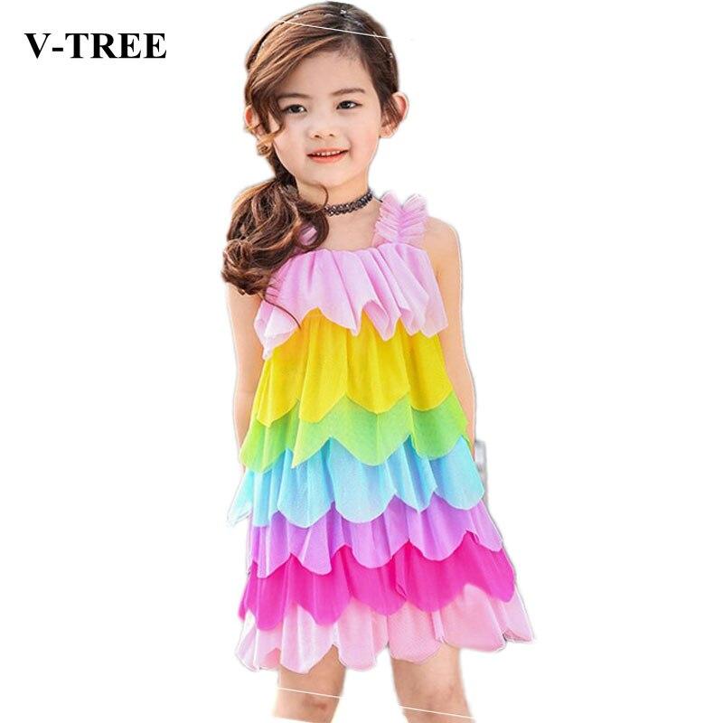V-TREE Girls Dress Rainbow Kids Princess Dress Summer Beach Dresses For Girls Children Lace Sweet Dress