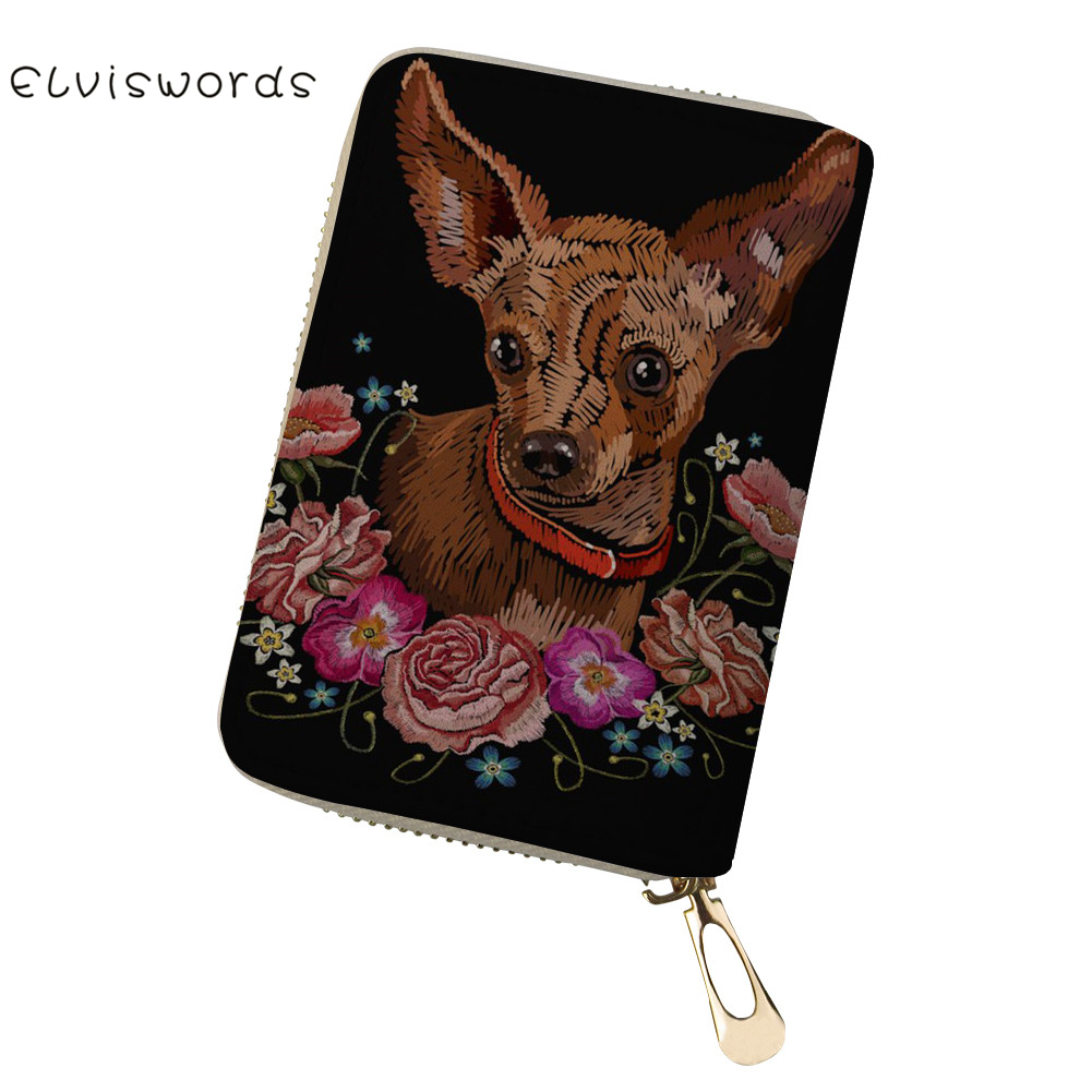 ELVISWORDS Full Closure Zipper Travel Organiser Passport Card Holder Wallet Dogs Printed Zip Document Bag Travel passport Wallet in Card ID Holders from Luggage Bags