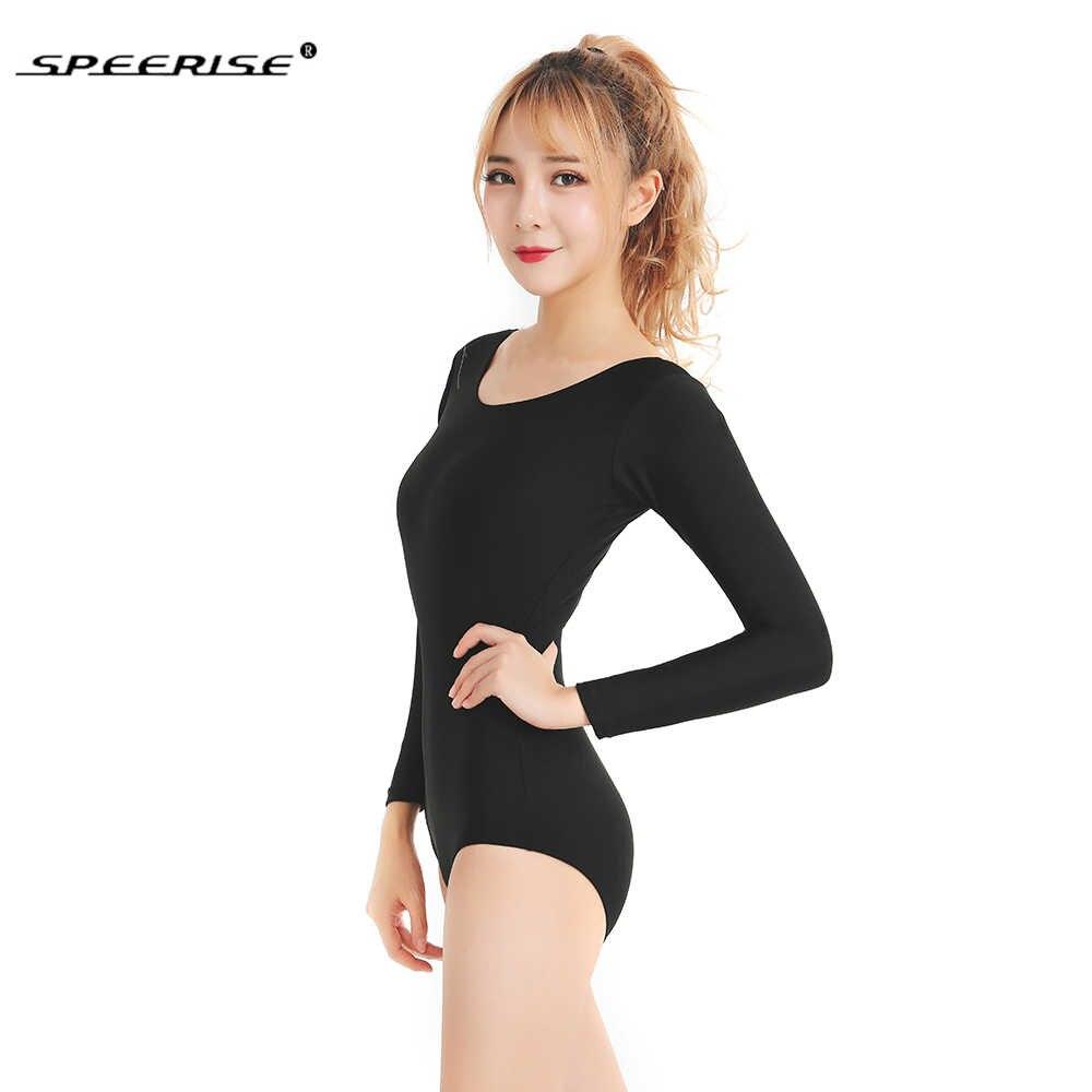 SPEERISE на взрослого танцевальный балетный купальник для женские боди с овальным вырезом гимнастические трико с длинными рукавами черный команды Базовая Одежда для танцев