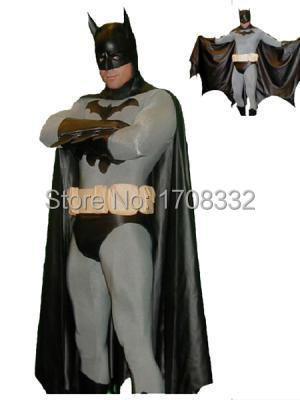 Classic Batman Costume Spandex Zentai FullBody Superhero Batman costume with cape and mask free shipping