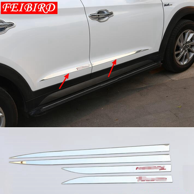 Accessories For Hyundai Tucson 2016 2017 2018 4PCS Side Door Molding Body Strip Streamer Protection Lid Molding Cover Kit Trim-in Chromium Styling from Automobiles & Motorcycles