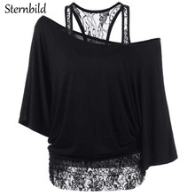 Фотография STERNBILD Brand 2017 Summer New Lace Oblique Neck T-shirt for Women European Fashion Sexy Batwing Sleeve Vest Female Tops S-5XL