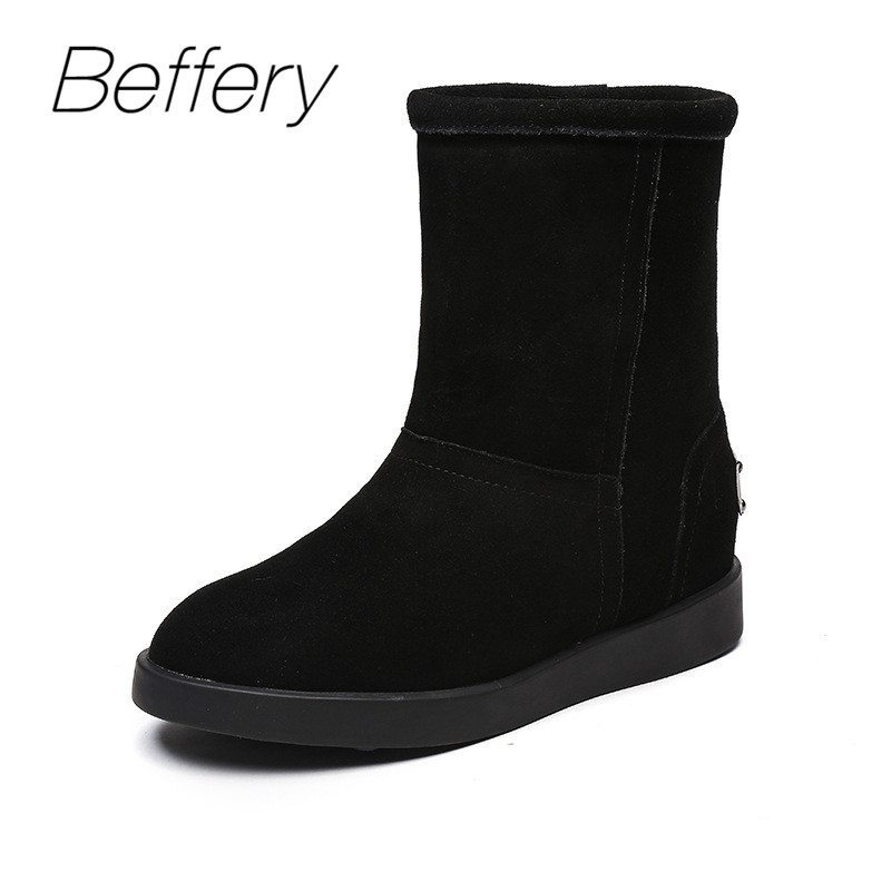 Beffery Women's Winter Boots Genuine Leather Round top Snow Boots Warm Plush Wedges Boots Platform Shoes Woman Suede Short Boots fedonas top quality winter ankle boots women platform high heels genuine leather shoes woman warm plush snow motorcycle boots