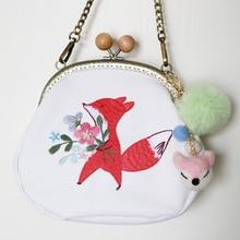New Arrival Handmade Cartoon Mori Style Fox Flower Diamond Frame Circular Bag Embroidery Wool Felt Women Messenger Shoulder