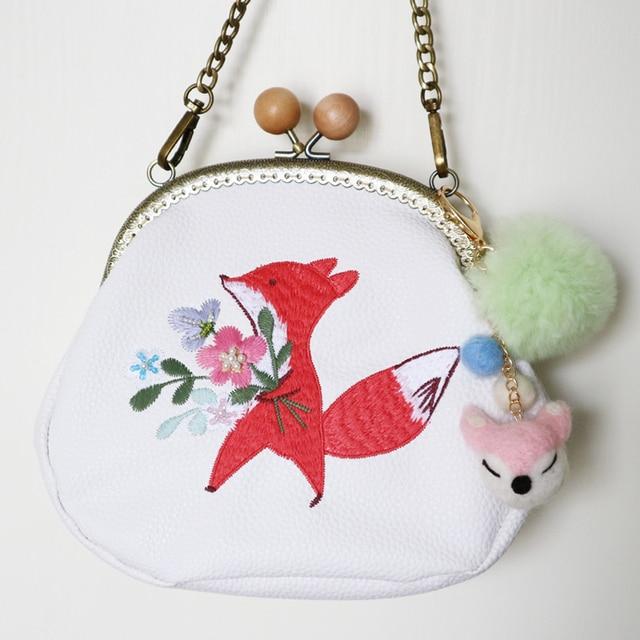 New Arrival Handmade Cartoon Mori Style Fox Flower Diamond Frame Circular Bag Embroidery Wool Felt Women Messenger Shoulder Bag
