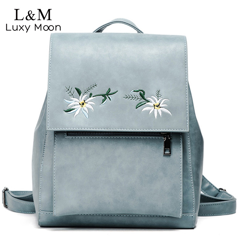 Women Floral Backpack Flower Embroidery Backpacks Blue PU Leather Bag Teenage Girls School Bags Vintage Solid