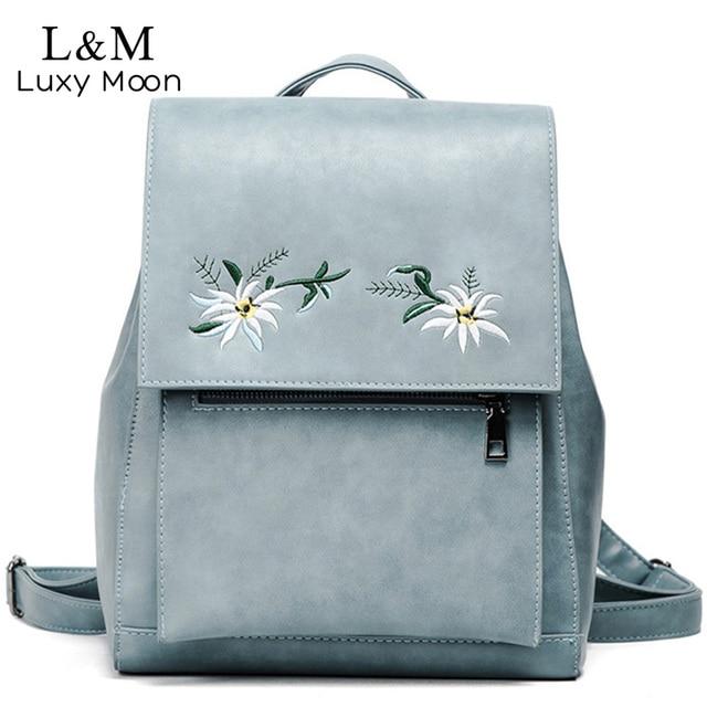 Women Floral Backpack Flowers Embroidery Backpacks Blue PU Leather Bag Teenage Girls School Bags Vintage Solid Mochila XA1040H