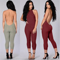 2016 Summer Style Women Ribbed Rompers Womens Jumpsuit Sexy Halter Sleeveless Backless Neckline Jumpsuits Calf-Length Pants