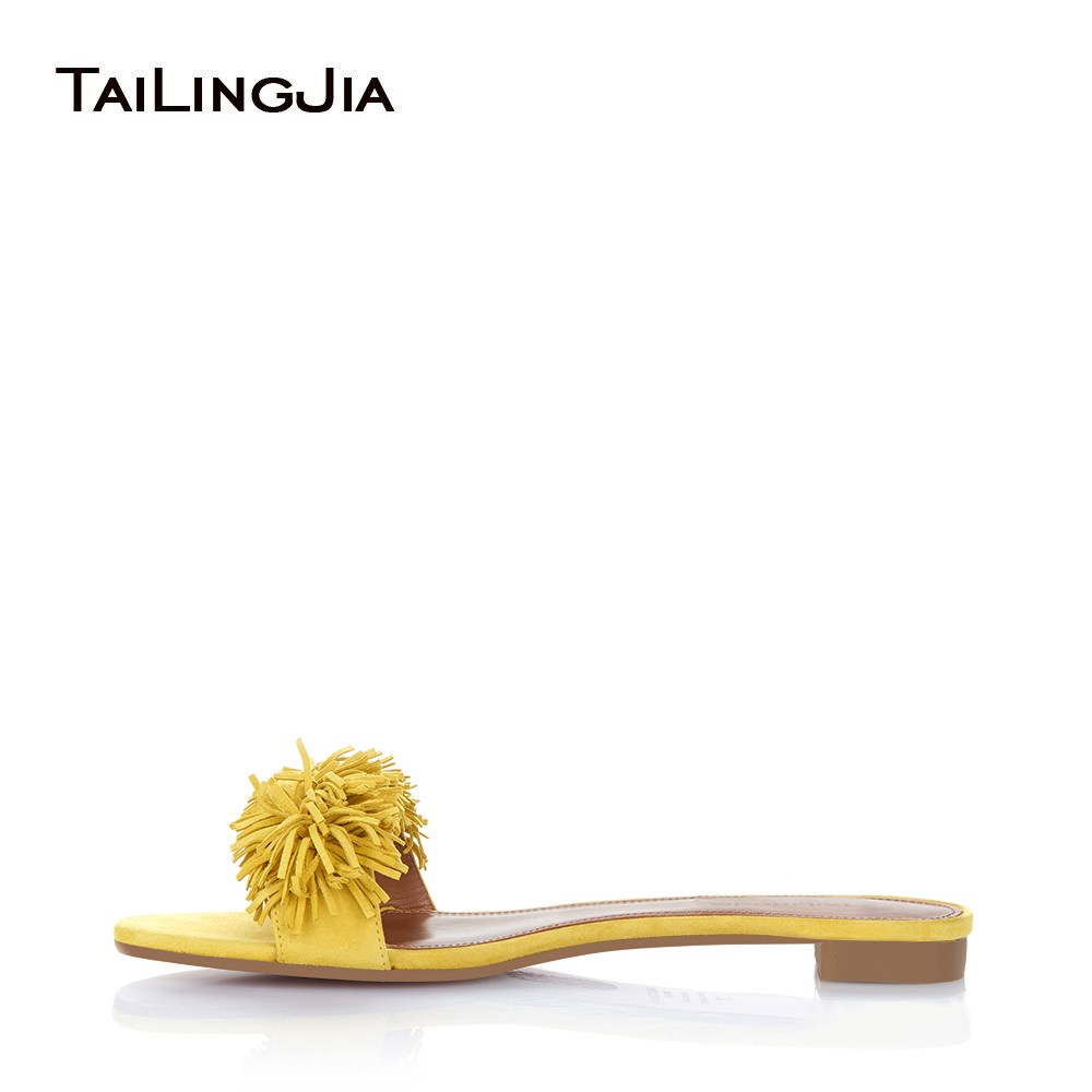 Women Flat Fringe Sandals Yellow Beach Shoes Vacation Slippers Black Summer Mule Shoes Large Size Thing Fringed Slides Wholesale female wedges slippers women platforms high wedeg sandals hallow out summer shoe beach vacation leisure heel footwear size 35 39