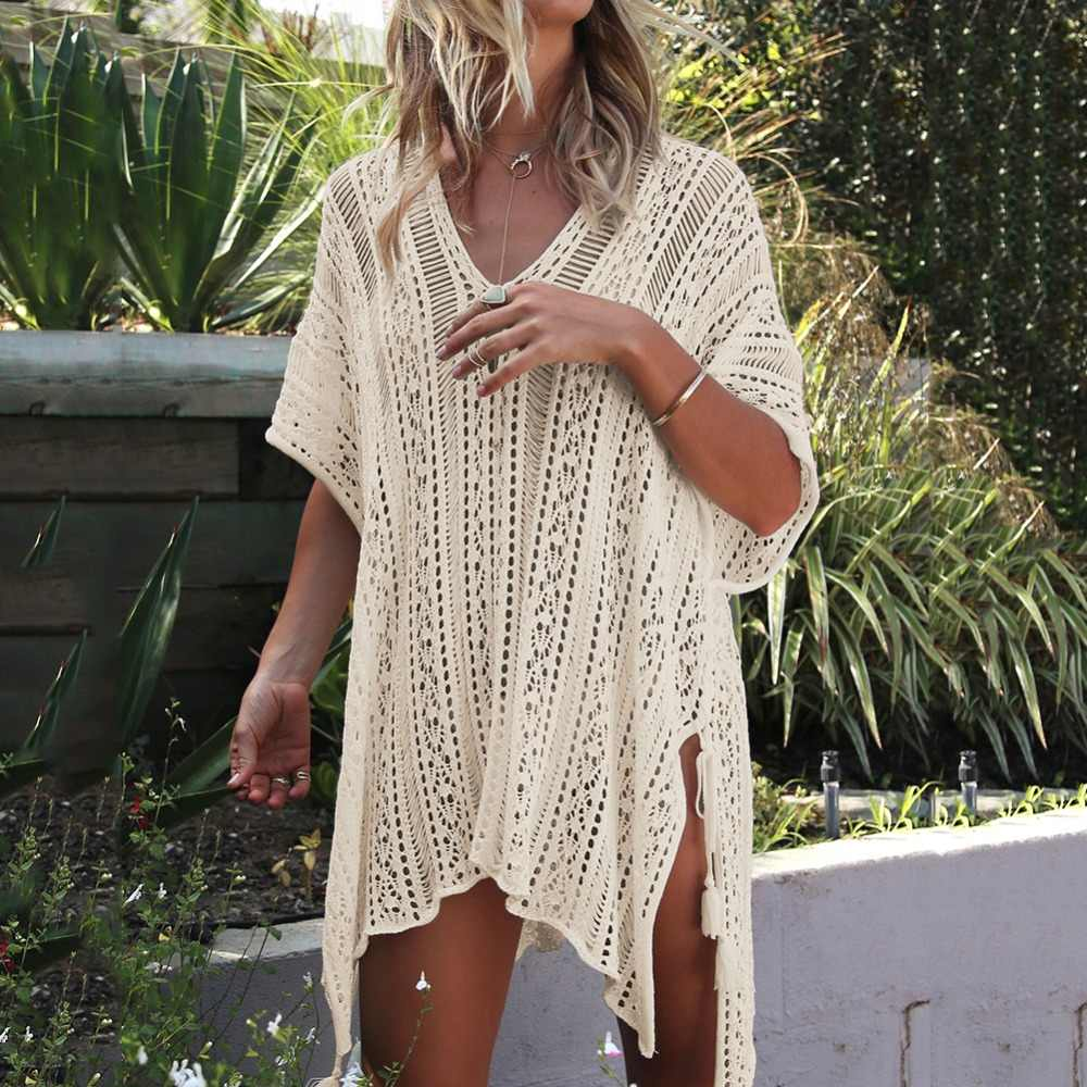 7441090044 ... 13 color short sleeve beach cover up V neck hollow out knitted crocheted  beach dress tunics ...