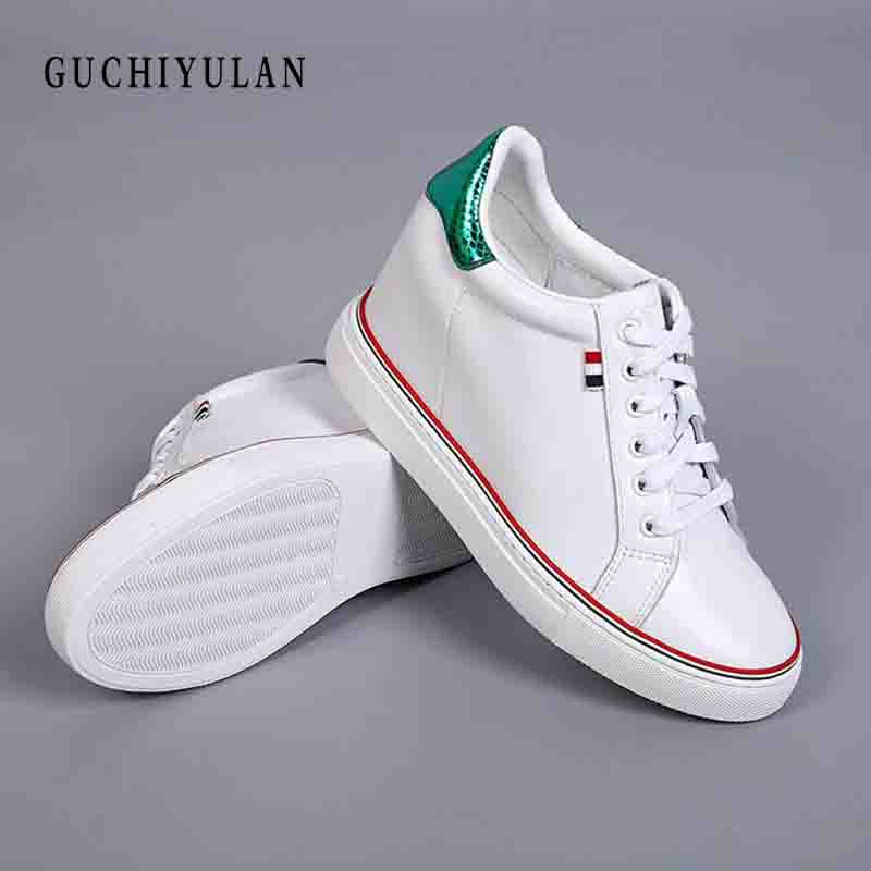 White Creepers Sneakers Women Platform Casual Flats Genuine Leather Espadrilles Chaussures Femme Flat Shoes Woman nurse shoes fashion women flats summer leather creepers platform sneakers causal shoes solid basket femme white black