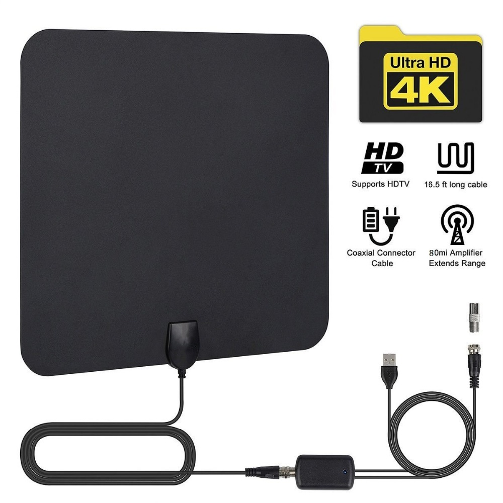 Indoor Digital TV Antenna HDTV Antena TV Radius Aerial Surf Fox DVB-T2 DVB-T ATSC ISDB TV Interior Antennas Amplifier ANT2325+