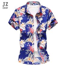 aa11b8b9f22f JZ CHEFE Slim Fit Homens Camisa Havaiana Praia Verão Floral Manga Curta de Negócios  Camisa Masculina Camisa Social Ocasional Plu.