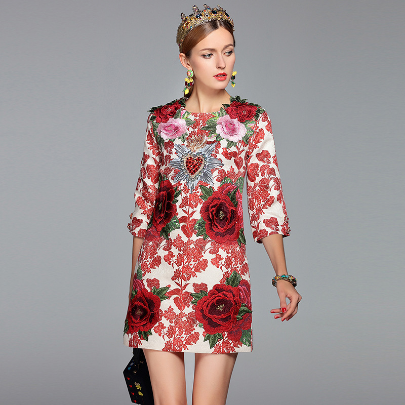 European and American Runway Fashion Floral Print New Women's 2018 Spring Embroidered Splicing Jacquard Slim Flower White Dress
