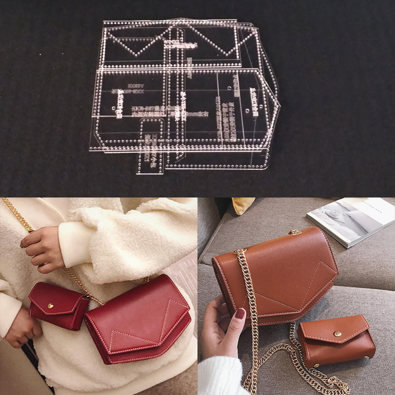 Acrylic Stencil Laser Cut Template DIY Leather Handmade Craft Shoulder Bag Sewing Pattern