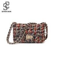 SEVEN SKIN Women S Fashion Messenger Bags Knitting Designer Shoulder Crossbody Bag High Quality Flap Women