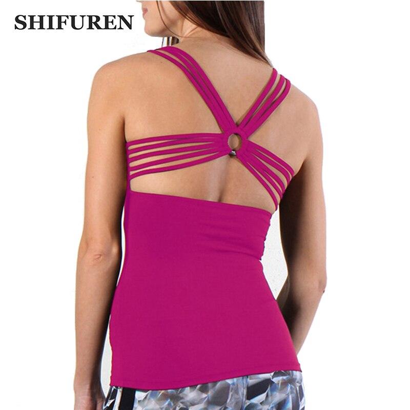 Womens Yoga Workouts Strappy Back Sport Tank: SHIFUREN Women Gym Sports Yoga Running Shirts Sexy Cross