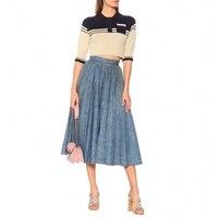 2019 Летняя женская джинсовая плиссированная юбка высокого качества ковбойская юбка модные большие юбки