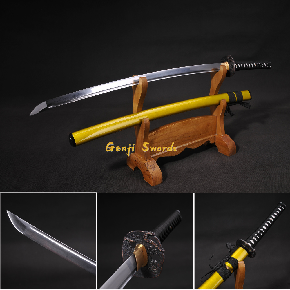 Handmade Full Tang Japanese Katana High Manganese Steel Yellow Real Samurai Sword Sharp Edge Handmade Full Tang Japanese Katana High Manganese Steel Yellow Real Samurai Sword Sharp Edge