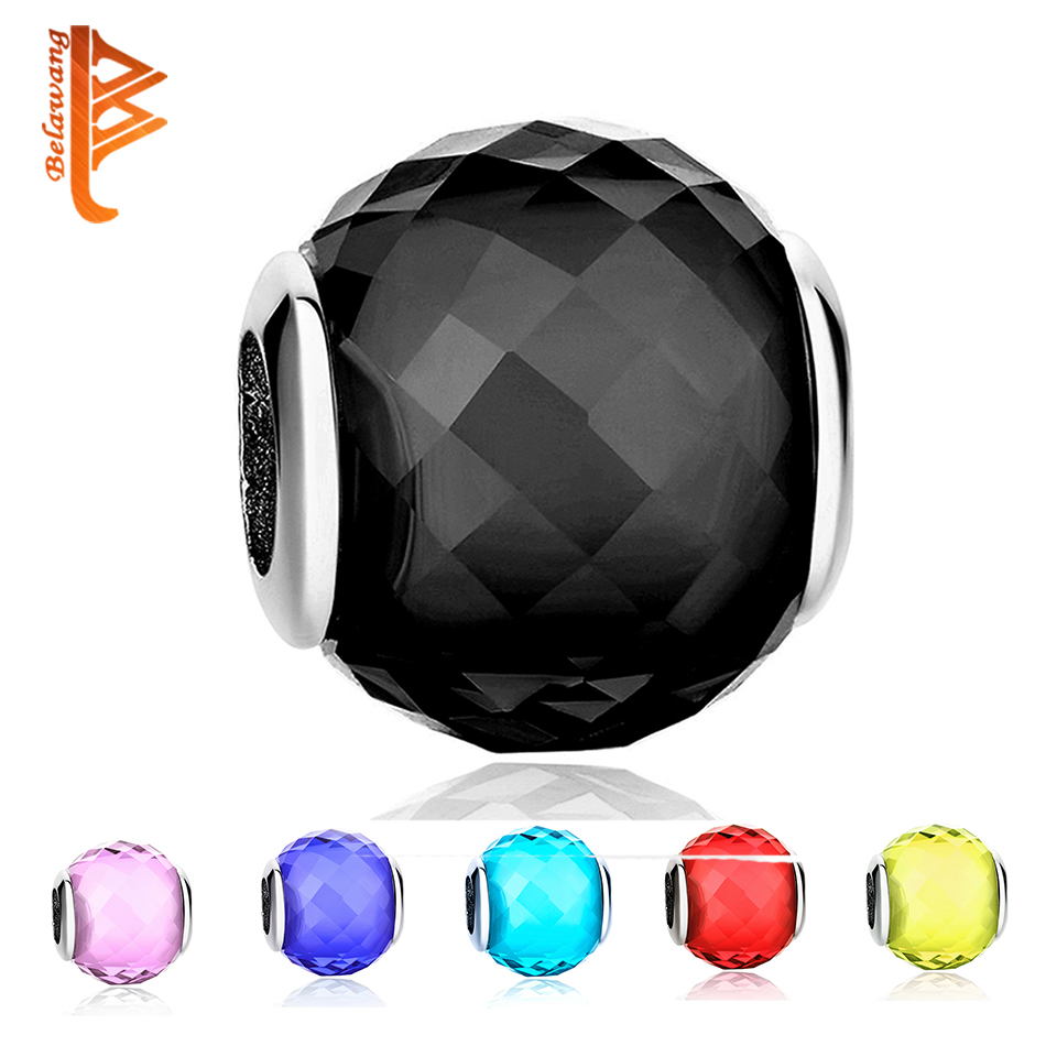 BELAWANG Authentic 925 Sterling Silver Black Clear CZ Murano Glass Beads Fit Original Pandora Charm Bracelet S925 Jewelry Gift