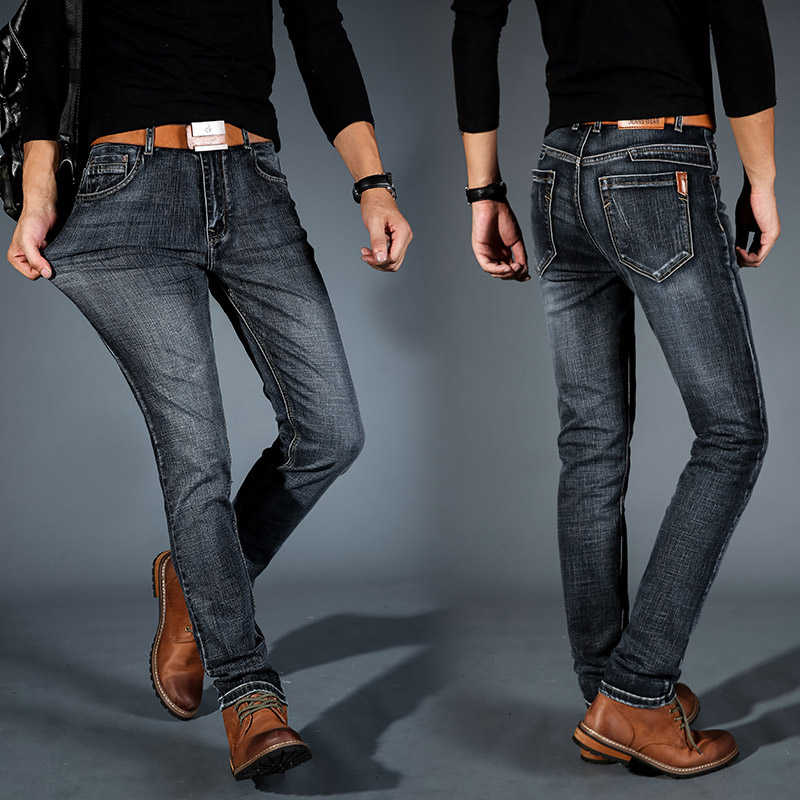 Men Casual Slim Fit Long Denim Pant Jeans High Waist Stretch Trousers -MX8