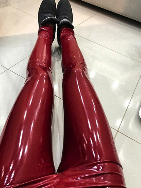 632d24b109cca S-3XL PU Leather Pants Women Pencil Leggings Sexy High Waist Red Trousers  Casual Stretch Bodycon Ladies Faux Leather Sweatpants