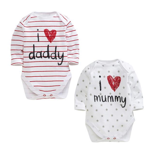Nova Moda 0-12 M Bebê Recém-nascido Bodysuits Das Meninas Dos Meninos de Manga Comprida 2016 Outono Roupas de Bebê Eu AMO a Mamã o papá Macacões V49