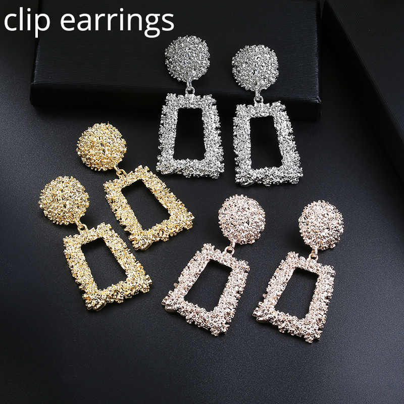 Big Vintage ZA Statement Clip Earrings for Women Without Piercing Hanging Earring 2019 Metal Ear Clips Fashion Jewelry Trend
