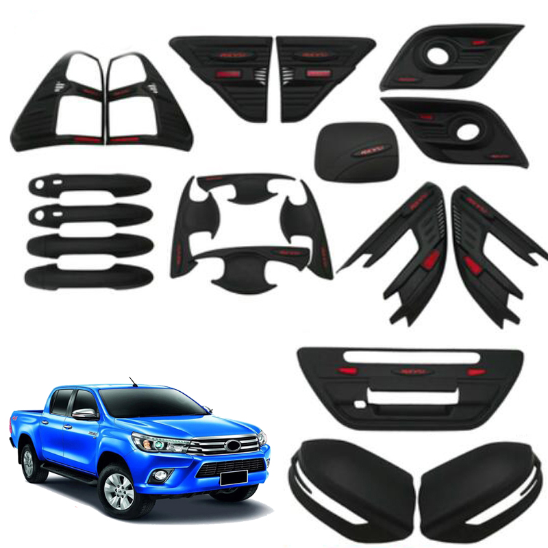 Exterior Accessories Tail Light Front Foglight Cover Door Handle Bowl Rearview Mirror Cover For Toyota Hilux/Revo 2014 2015 2016 2015 2017 car wind deflector awnings shelters for hilux vigo revo black window deflector guard rain shield fit for hilux revo