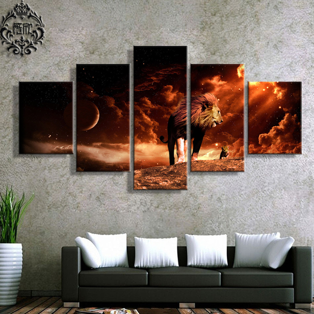 Etonnant Modern Canvas Printed Painting 5 Pieces Wall Art Poster Lion King Home Decor  For Living Room